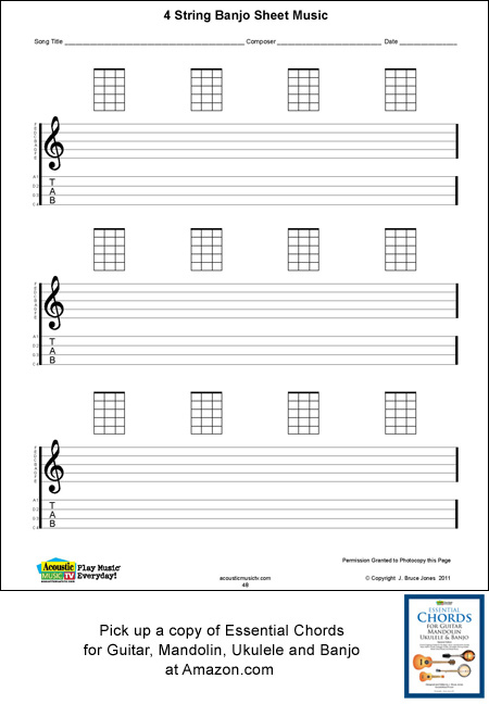 Blank 4 String Banjo Blank Sheet Music And Chord Boxes