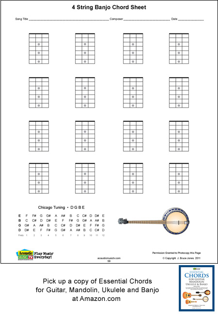blank 4 string banjo blank sheet music and chord boxes. Black Bedroom Furniture Sets. Home Design Ideas